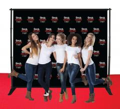10 ft x 8 ft Adjustable Media Wall - Step and Repeat Event Backdrops