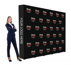 10 ft x 8 ft Fabric Pop Up Straight Media Wall - Step and Repeat Event Backdrops
