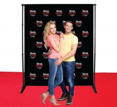 6 ft x 8 ft Adjustable Media Wall - Step and Repeat Event Backdrops