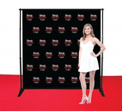 8 ft x 8 ft Adjustable Media Wall - Step and Repeat Event Backdrops