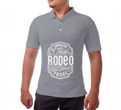 Grey Cotton Polo Shirt - Printed