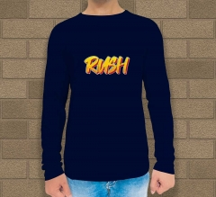 Blue Cotton Printed Long Sleeves T-Shirt - Crew Neck