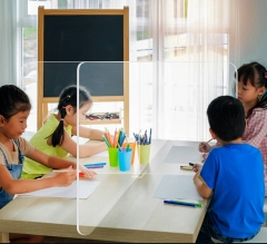 School Tabletop Desk Divider Sneeze Guard - Clear Acrylic (4 person)