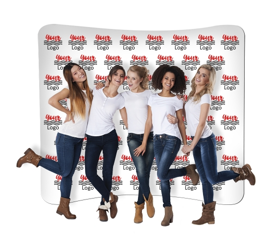 10 ft x 8 ft Curved Pillow Case Media Wall - Step and Repeat Event Backdrops