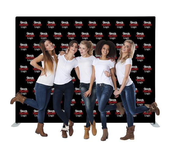 10 ft x 8 ft Straight Pillow Case Media Wall - Step and Repeat Event Backdrops