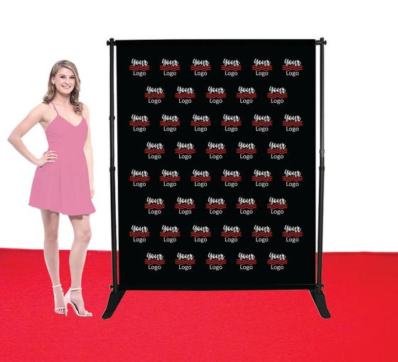 5 ft x 6 ft Adjustable Media Wall - Step and Repeat Event Backdrops