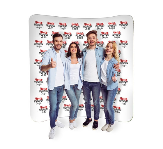 8 ft x 8 ft Curved Pillow Case Media Wall - Step and Repeat Event Backdrops