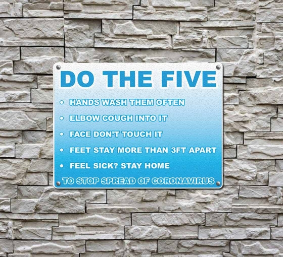 Do the Five To Stop Spread Coronavirus Compliance signs
