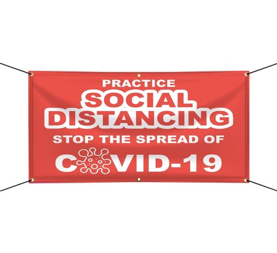 Practice Social Distancing Stop the Spread Vinyl Banners