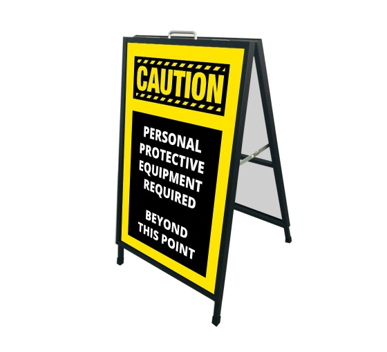Caution Personal Protection Equipment Required Beyond this Point Metal Frames