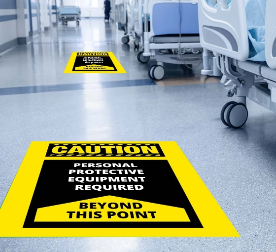 Caution Personal Protection Equipment Required Beyond this Point Floor Decals