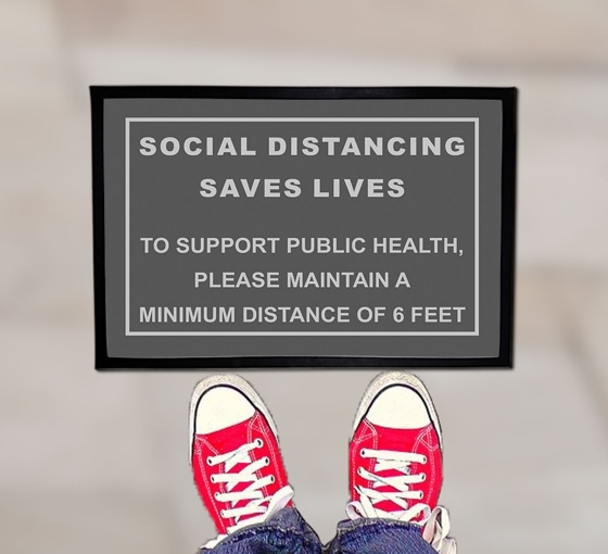 Social Distancing Saves Lives Outdoor Floor Mats