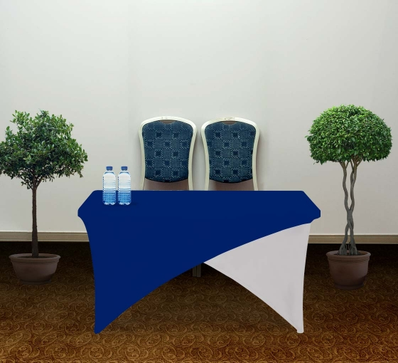 4' Cross Over Table Covers - Blue & White
