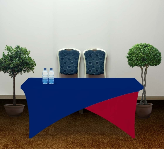 6' Cross Over Table Covers - Blue & Red