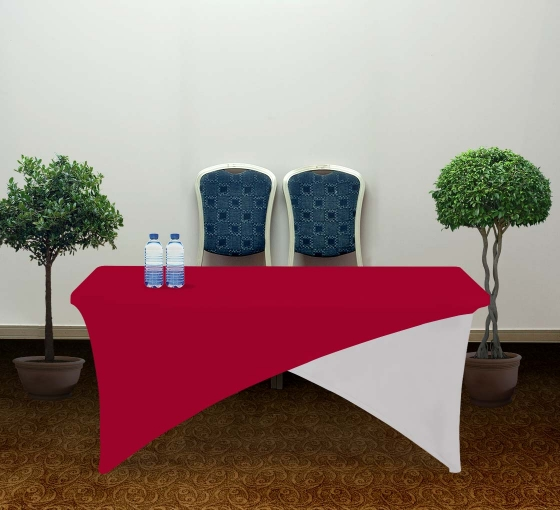 6' Cross Over Table Covers - Red & White