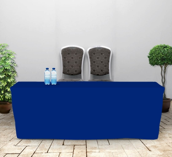 8' Fitted Table Covers - Blue - 4 Sided